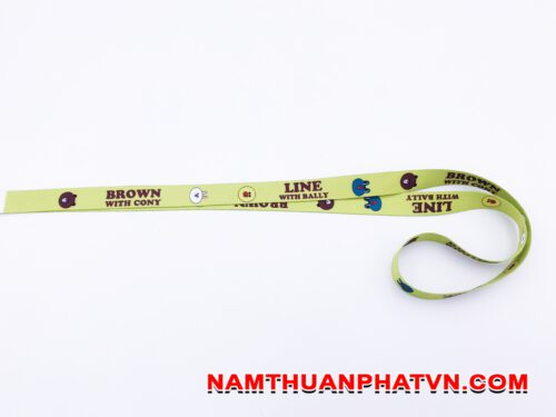 Dây đeo thẻ satin Brown with Condy 10